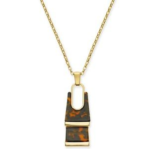 Gold-Tone Tortoise-Look Rectangle Pendant Necklace